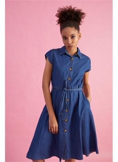 Z Giyim Kadın  Mavi  Sıfır Kol Kot Elbise Mavi